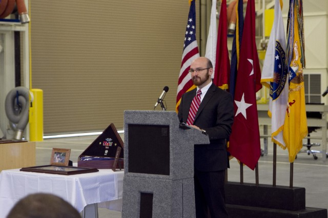 Mr. Craig Dulniak, staff member for Congressman Steve Cohen of Tennessee's 9th District speaks during the memorialization ceremony of the Spc. Christopher Fox Tactical Equipment Maintenance Facilityon September 14 in Millington, Tenn. Fox was killed in action on September 29, 2008 in Adamiyah, Iraq.