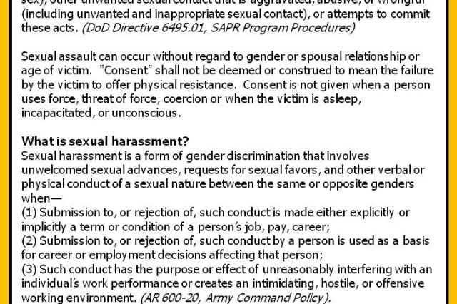 USAREUR's initiative toward SHARP is a push to change the culture to one in which no Soldier, at any level, tolerates sexual harassment or assault, all Soldiers are held accountable for their actions, and all victims are protected.  More infographics available at http://www.eur.army.mil/SHARP/default.htm#infographics.