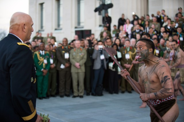 Maori soldiers, the indigenous Polynesian people of New Zealand, perform a Powhiri ceremony for U.S. Army Chief of Staff Gen. Ray Odierno at the Auckland Museum in Auckland, New Zealand Sept. 9, 2013.  A Powhiri is a Māori welcoming ceremony involving speeches, dancing, and singing. (U.S. Army photo by Staff Sgt. Teddy Wade/ Released)
