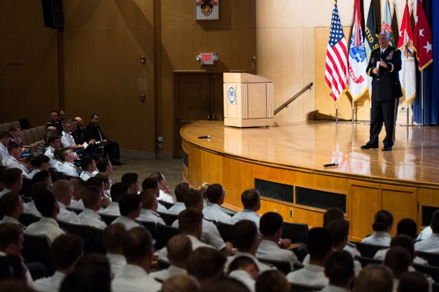 U.S. Army Chief of Staff Gen. Raymond T. Odierno addresses Firsties (senior cadets) during his visit to the United States Military Academy, at West Point, N.Y., Sept. 20, 2013.