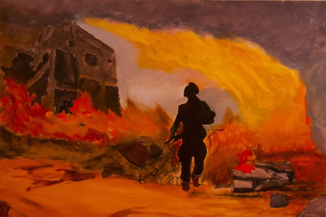 A war fighter is silhouetted in fire in one of the paintings featured in the Combat Arts exhibit in the Southwestern University art gallery, Sept. 14, 2013. The paintings in the exhibit were all created by Iraq and Afghanistan war veterans who suffer from post-traumatic stress disorder. Combat Arts is a non-profit organization that provides visual arts classes to active and inactive duty veterans who have served in the Iraq and Afghanistan wars, and was founded on the principal that making art is inherently therapeutic. (U.S. Army photo by Sgt. Ken Scar, 7th Mobile Public Affairs Detachment)