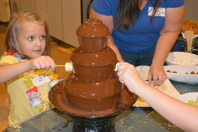 The chocolate fountain was a big hit with children of all ages the Deployed Spouse Luau at Havana's on Torii Station on Sept. 21, 2013.