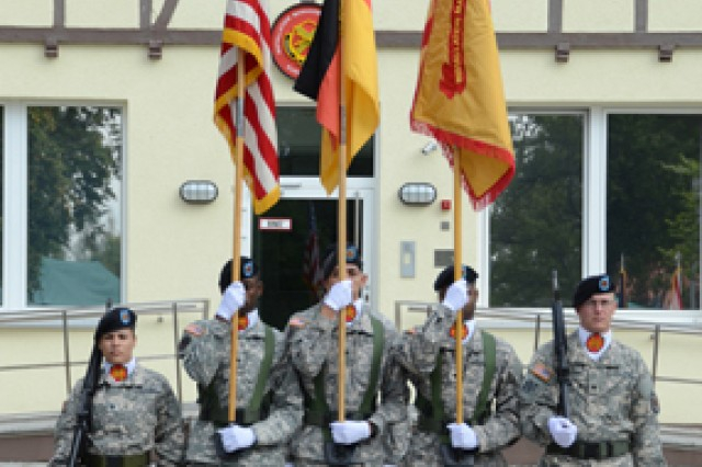The garrison color guard displays the USAG Bavaria colors after the uncasing.
