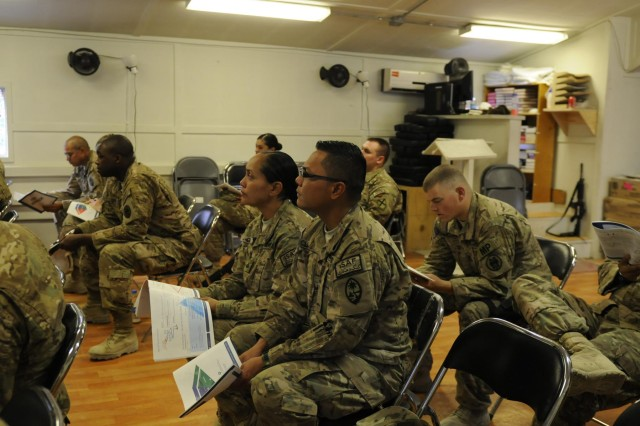 Soldiers from Camp Phoenix in Kabul, Afghanistan, receive Applied Suicide Intervention Skills Training, Sept. 18, 2013. During this training, soldiers learn to respond knowledgeably and competently to soldiers at risk of suicide. Task Force Lifeliner, 101st Special Troops Battalion Chaplain Jason Price, a native of Clarksville, Tenn., was the instructor for this training. www.facebook.com/lifeliner (U.S. Army photo by Sgt. Sinthia Rosario, Task Force Lifeliner Public Affairs)