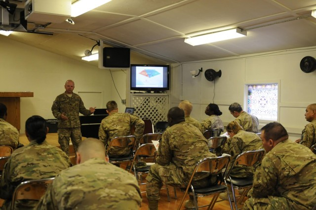Task Force Lifeliner, 101st Special Troops Battalion Chaplain Jason Price, a native of Clarksville, Tenn., conducts Applied Suicide Intervention Skills Training to soldiers from Camp Phoenix in Kabul, Afghanistan, Sept. 18, 2013. During this training, soldiers learn to respond knowledgeably and competently to soldiers at risk of suicide. www.facebook.com/lifeliner (U.S. Army photo by Sgt. Sinthia Rosario, Task Force Lifeliner Public Affairs)