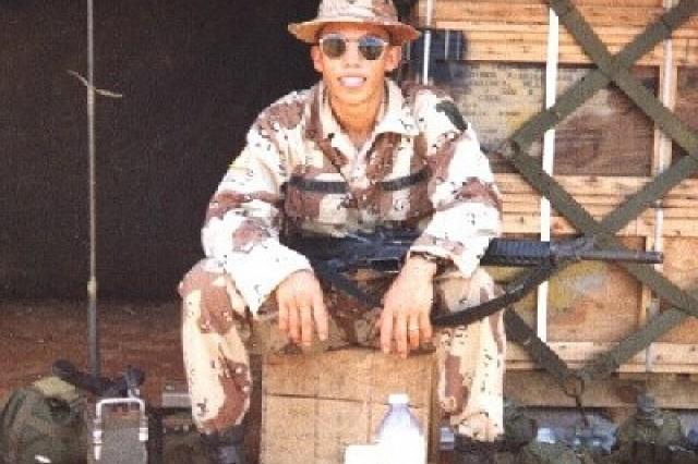 Then-Pfc. Gregorio Villanuevaochoa takes a break in Somalia, in 1993.