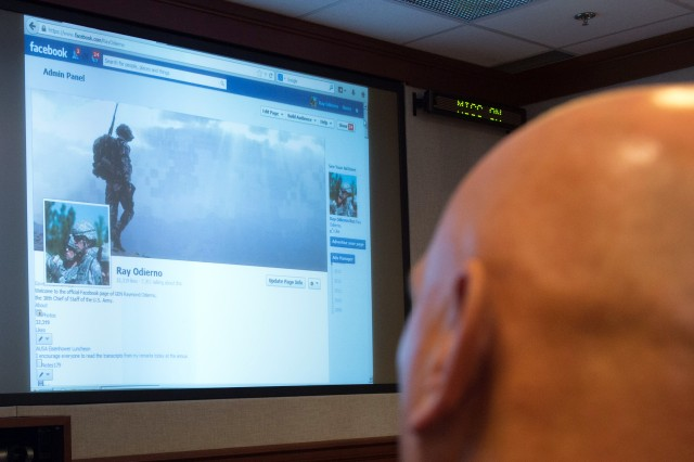 Army Chief of Staff Gen. Ray Odierno takes part in a one-hour virtual town hall, from the Pentagon, Sept. 24, 2013. He fielded questions on a range of topics, including the budget, mental health counseling, and readiness.