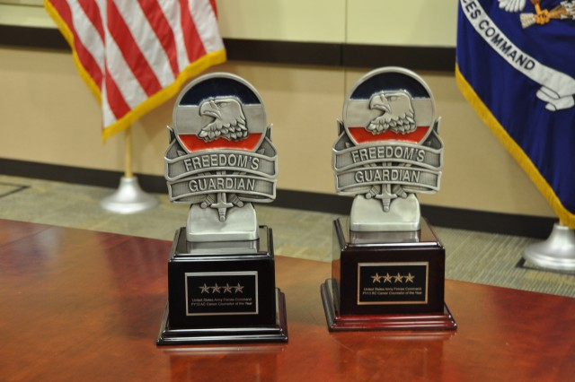 The winners' trophies for the 2013 U.S. Army Forces Command Career Counselor of the Year Competition are displayed, Sept. 25, at Fort Bragg, N.C.