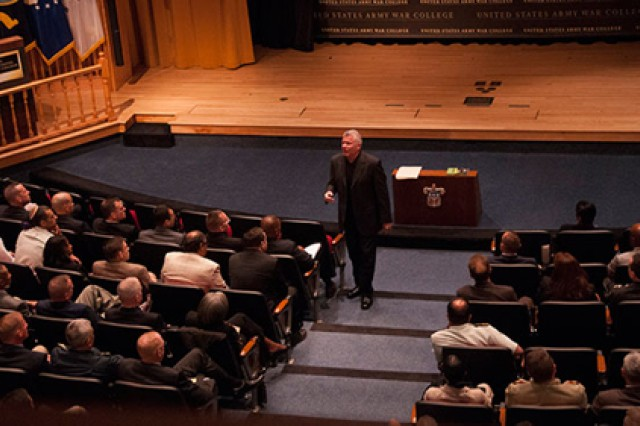 Bob Delaney, a former New Jersey state trooper, spoke to the Army War College Community Sept. 17 about the human response to trauma, basing his comments on his own post- trauma stress symptoms and how he learned to cope and continue through a NBA referee career.