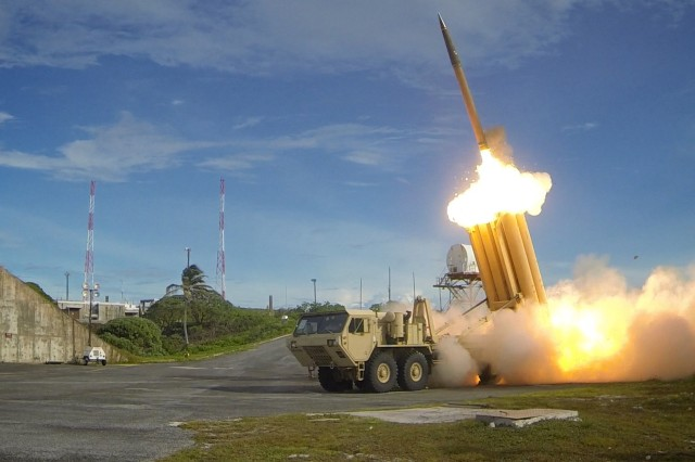 Two THAAD interceptors and a Standard-Missile 3 Block IA missile were launched resulting in the intercept of two near-simultaneous medium-range ballistic missile targets during designated Flight Test Operational-01 (FTO-01) on September 10, 2013 in the vicinity of the U.S. Army Kwajalein Atoll/ Reagan Test Site and surrounding areas in the western Pacific. The test demonstrated the ability of the Aegis BMD and THAAD weapon systems to function in a layered defense architecture. Photos taken by Missile Defense Agency.