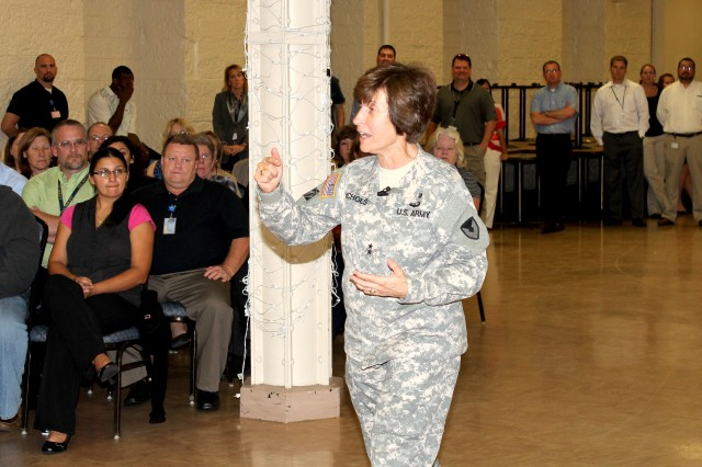 Maj. Gen. Camille M. Nichols, commanding general, Army Contracting Command, discussed the state of the command and her thoughts on its future at a town hall meeting held at ACC-Rock Island, Ill., Sept. 18.