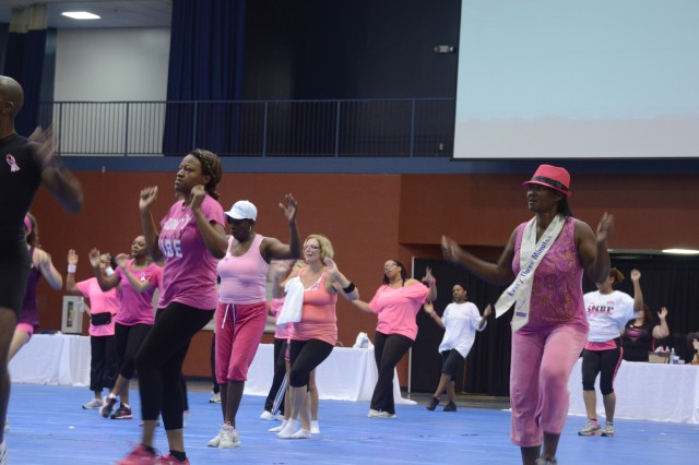 Participants in Fort Jackson's fourth annual Do it in Pink aerobathon show up in pink clothes and ready to sweat to raise awareness for breast cancer Saturday at the Solomon Center. The Family and Morale, Welfare and Recreation event drew about 150 men, women and children of all ages who showed their support for the cause.