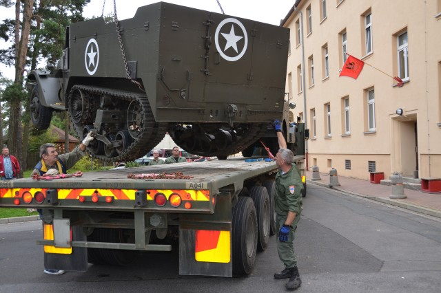 As U.S. Army Garrison Bamberg prepares for closure, more and more buildings and motor pools are being cleared. Two historic M3 half-tracks and two historic M3 scout cars left USAG Bamberg Sept. 27 on a truck to Kaiserslautern, where they will be stored in a depot.