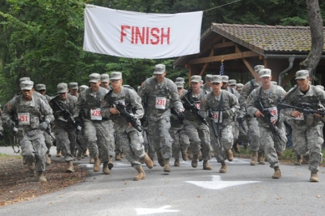 Soldiers from across Germany compete in the U.S. Forces Europe Combat Cross Country Championships at Hohenfels, Sept. 27.