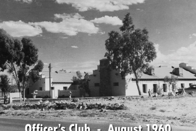 A framed photo in Fort Irwin's Building 21 shows how it looked when it was used as an officers club for Camp Irwin and later as a day care center. Fort Irwin PAO photo by Les Ozawa