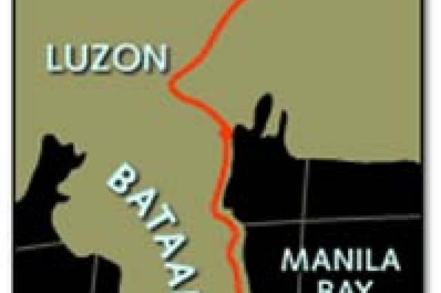 A map of the original Bataan Death March route.
