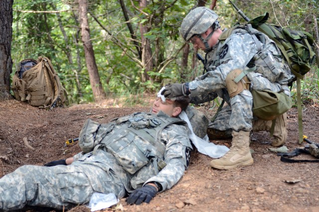 "WARRIOR BASE, South Korea "" Sgt. Adam Sanborn, from Franklin, Tenn., with Company A, 1st Battalion, 72nd Armor Regiment, 1st Armored Brigade Combat Team, 2nd Infantry Division, gives first aid to a Soldier with head injuries during first aid testing as a part of the Expert Infantry Badge testing, Sept. 23, 2013. Sanborn was one of 400 infantrymen who took part in  the lane testing courses to earn his badge. (U.S. Army photo by, Cpl. Kwon Yong-joon, 1st ABCT, PAO)."