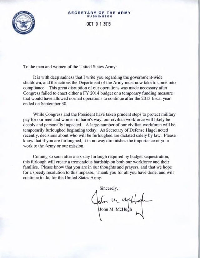 SecArmy McHugh letter to force about government shutdown