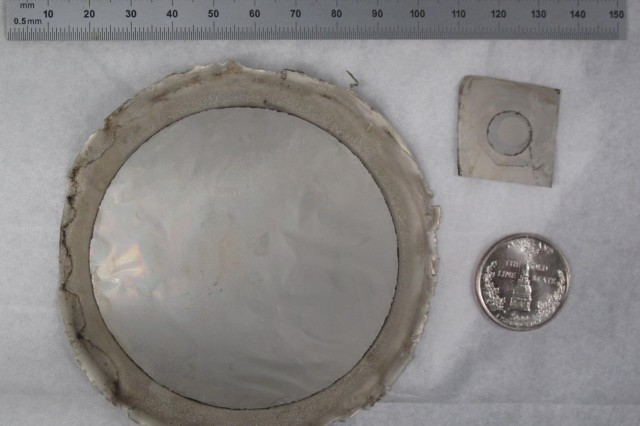 A large palladium membrane, like the one shown here, uses less than $1 worth of palladium metal, due to the ultrathin deposition processes used for its fabrication in the Army Research Laboratory Clean Room.