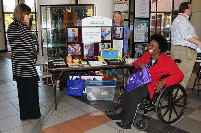 People browse the different vendors and exhibits during last year's Assistive Technology Expo at the Soldier Service Center atrium. This year's expo will be Oct. 9 from 10 a.m. to 2 p.m. in the atrium of the Soldier Service Center.