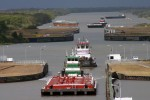 Barges transit through Colorado River Locks