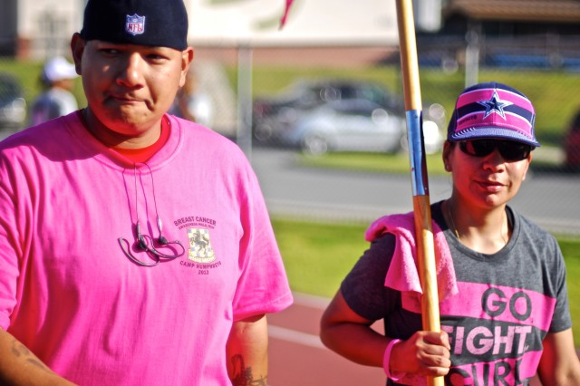 Many of the more than 300 people who participated in the Third Annual Camp Humphreys Breast Cancer Awareness Walk/Run, Oct. 5, at Zoeckler Station track, wore clothing with personal messages for those who they've known to have breast cancer.