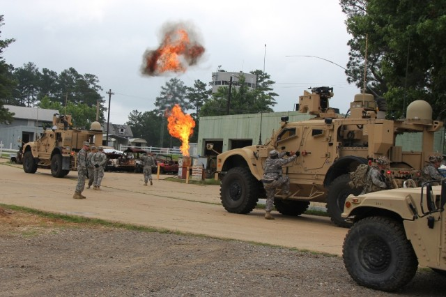 A simulated explosion at a mock Afghan gas station was part of a training mission thread for the 3rd Brigade Combat Team, 10th Mountain Division (Light Infantry), at the Joint Readiness Training Center, Fort Polk, La., June 7, 2013, in preparation for the unit's deployment. The Warfighter Information Network-Tactical Increment 2 equipped vehicles enabled Soldiers to relay information throughout the brigade and increase operational tempo.