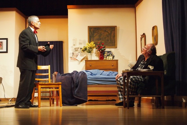 "From left, Al Lewis (Mick Shaughnessy) visits the apartment of Willie Clark (Jim Phillips) in ""The Sunshine Boys."" The Illegitimate Theater Company and Family and Morale, Welfare and Recreation present Neil Simon's Broadway play turned film and television production at Murr Community Center today, Saturday and Sunday."