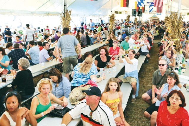 Crowds gather for entertainment and food during Fort Belvoir's 18th Annual Oktoberfest at Fremont Field, Saturday.