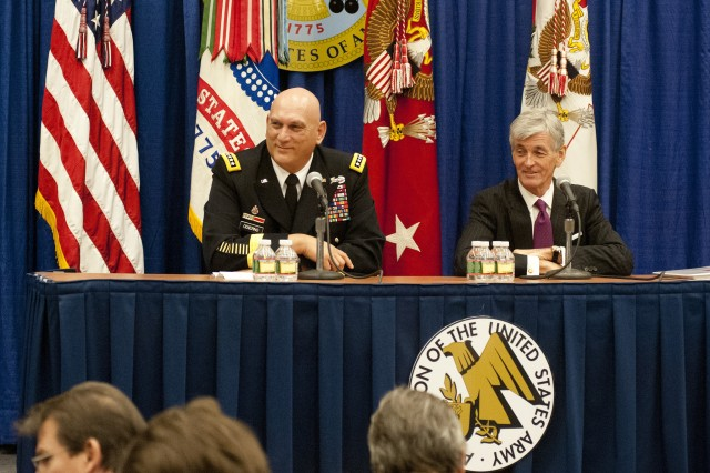 Secretary of the Army John M. McHugh and Chief of Staff of the Army Gen. Ray Odierno speak during the 2012 Association of the United States Army Annual Meeting and Exposition press conference, in Washington, D.C. This year, all panels at the 2013 Association of the United States Army Annual Meeting and Exposition will be live-streamed over the Internet. Viewers will have the opportunity to weigh in with questions, via social media.