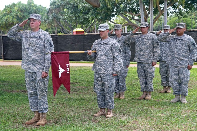 HONOLULU-- The 124th Medical Detachment (Optometry) Commander Capt. John Stehulak presents his unit to the 18th Medical Command (Deployment Support) Commander Col. Bret T. Ackermann for the last time during the unit's deactivation ceremony, Oct. 7.  The deactivation of the 124th Med. Det. was due to ongoing force realignment occurring throughout the U.S. Army. This unit provided optometry care throughout the local Hawaii garrison area of responsibility, Pacific Rim and combat areas during its tenure under the 18th Medical Command (Deployment Support).  The 124th's guidon is safely stowed until the United States Medical Department needs her services again, said Col. Bret T. Ackermann, the 18th MEDCOM (DS) Commander. Then, the 124th will once again activate, uncase her guidon and deploy to wherever needed to execute her mission to standard. Thank you for your service and your leadership on this island, throughout the Pacific Rim, and in combat.