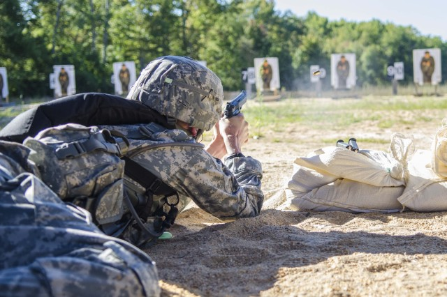 A USAPHC Soldier tests his marksmanship skills during the range portion of the German Armed Forces Proficiency Badge competition