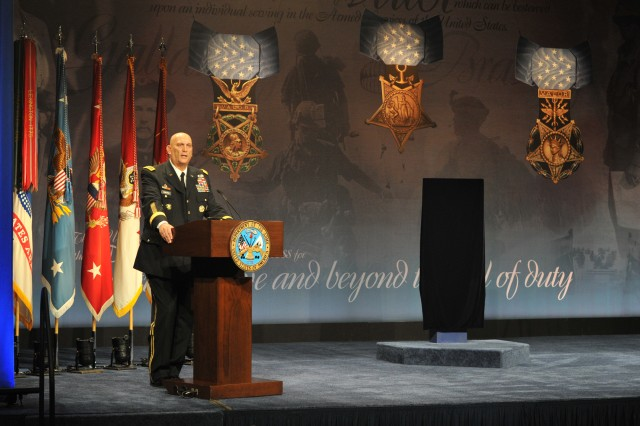 Army Chief of Staff Gen. Ray Odierno opens the induction of former Army Capt. William D. Swenson into the Pentagon's Hall of Heroes, Oct. 16, 2013, after receiving the Medal of Honor the day before from President Barack Obama at a White House ceremony. Swenson became the sixth living recipient of the nation's highest military award during the War on Terror for his valor and gallantry beyond the call of duty at the Battle of Ganjgal, Afghanistan, Sept. 8, 2009.