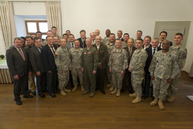 U.S. Army leaders from JMRC in Hohenfels, Germany met with local community leaders during their annual Community Relations Advisory Committee (CRAC) meeting held in Lupburg, Germany on October 16, 2013.  The CRAC is an invaluable partnership between U.S. Soldiers and families and their German neighbors who host them.  (U.S. Army photo by Staff Sgt. Caleb Barrieau/Released)