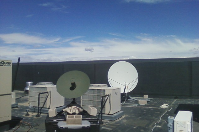 Army Space Support Team equipment is placed on a roof top in Denver, Colo., to capture and download satellite imagery of the damage caused during the September floods in Colorado.