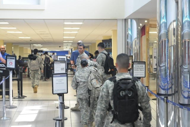 A small detachment of soldiers assigned to the 1st Mission Support Command, U.S. Army Reserve-Puerto Rico, recently departed the Caribbean island on their way to a mobilization station in Texas with Afghanistan as their final destiny.