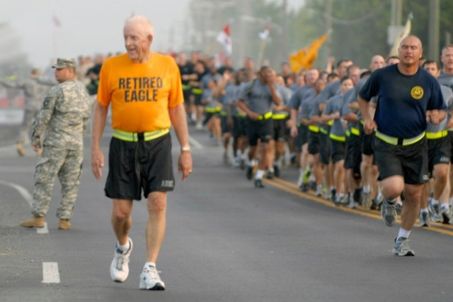 Retired 101st Airborne Division Sgt. Maj. Dayton Herrington finished a division run with Screaming Eagle Soldiers, Aug. 5, 2011. The run took place to kick off the Week of the Eagles, an annual tradition for the 101st consisting of seven days of scheduled events throughout each of the Brigades at Fort Campbell, Ky.