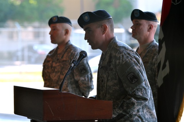 The Commander of 4th Attack Reconnaissance Squadron, 6th Cavalry Regiment, Lt. Col. Brian Watkins, speaks during the uncasing ceremony Oct. 18, 2013 at Camp Humphreys.