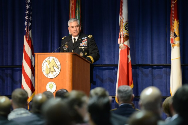 Army Vice Chief of Staff Gen. John F. Campbell speaks at the Sergeant Major of the Army Recognition Luncheon, at the 2013 Association of the U.S. Army Annual Meeting and Exposition, in Washington, D.C., Oct. 21, 2013.
