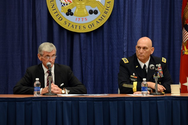 "Secretary of the Army John M. McHugh and Chief of Staff of the Army Gen. Ray Odierno said budget cuts, sequestration and continuing resolutions have exacted ""great cost"" on Army readiness, during remarks at the 2013 Association of the United States Army Annual Meeting and Exposition, in Washington, D.C."