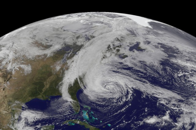 The Geostationary Operational Environmental Satellite 13 (GOES-13) captured this natural-color image of Hurricane Sandy at 1:45 p.m. Eastern Daylight Time (17:45 Universal Time) on October 28, 2012.
