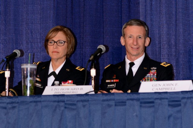 Lt. Gen. Howard B. Bromberg, G-1, announces the Army's new Resiliency Directorate at as Surgeon General Lt. Gen. Patricia D. Horoho looks on, during the Association of the United States Army Annual Meeting and Exposition, in Washington, D.C., Oct. 21, 2013.