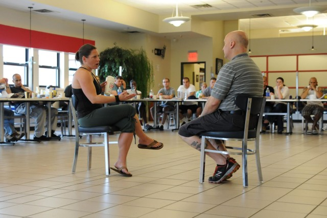 "Sarah Brown and Dr. Glen Wurglitz, ""Soldier 360"" instructors, demonstrate ways to communicate during a class on couple's communication. The course teaches leaders skills that incorporate personal, and family resiliency which they can take back to their soldiers."