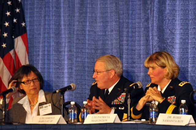 Heidi Shyu, Assistant Secretary of the Army for Acquisition, Logistics and Technology,  Lt. -- Lt. Gen. Patricia McQuistion, deputy commanding general of Army Materiel Command, and Gen. James O. Barclay III, deputy chief of staff, G-8; took questions from Army personnel, industry and academia during a panel discussion at the annual meeting of the Association of the United States Army, Oct. 22, 2013.