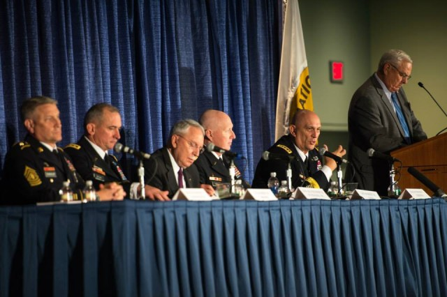 (From left to Right) Sgt. Maj. of the Army Raymond F. Chandler III, Lt. Gen. Robert B. Brown, retired Gen. Frederick M. Franks Jr., Gen. Robert W. Cone, Gen. Ray Odierno, and retired Gen. William S. Wallace (far right) at the 2013 Association of the United States Army Annual Meeting and Exposition, in Washington, D.C., Oct. 22, 2013.
