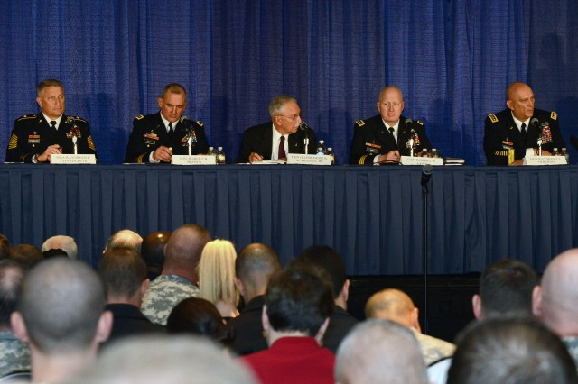 (From left to Right) Sgt. Maj. of the Army, Raymond F. Chandler III, Lt. Gen. Robert B. Brown, retired Gen. Frederick M. Franks Jr., Gen. Robert W. Cone and Gen. Ray Odierno speak at a forum on Army leadership at the 2013 Association of the United States Army Annual Meeting and Exposition, in Washington, D.C., Oct. 22, 2013.