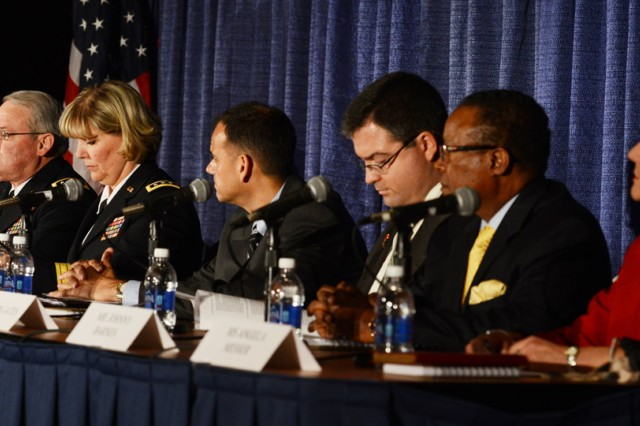 Leaders from Army logistics and representatives from Congress and the private sector speak at an equipment modernization forum, Oct. 22, 2013, during the 2013 Association of the U.S. Army Annual Meeting and Exposition, at the Washington Convention in Washington, D.C. Pictured from left are: Heidi Shyu, assistant secretary of the Army for Acquisition, Logistics and Technology; Lt. Gen. James O. Barclay III, deputy chief of staff G-8; Lt. Gen. Patricia McQuistion, deputy commander, U.S. Army Materiel Command; Dr. Robie Samanta Roy, professional staff member, Senate Armed Services Committee; Kevin Gates, professional staff member, House Armed Services Committee; Johnny Barnes, vice president, Intelligence, IBM; and Angela Messer, executive vice president, Booz Allen Hamilton.