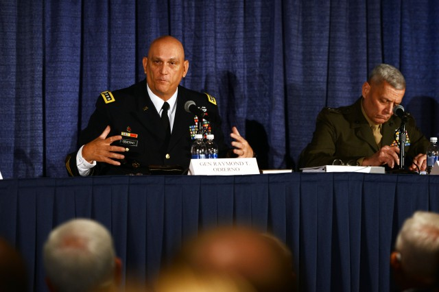 "Ground forces, including Soldiers, Marines and special operations troops will continue to play a critical role in supporting America's defense and joint fight, despite the opinions of ""intellectuals"" who might believe otherwise, said Chief of Staff of the Army Gen. Ray Odierno, Oct. 23, 2013, at the 2013 Association of the United States Army Annual Meeting and Exposition, in Washington D.C."