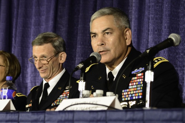 Vice Chief of Staff of the Army General John F. Campbell speaks on a panel at the Association of The United States Army Convention on October 21, 2013 at the Washington Convention Center in Washington, D.C.