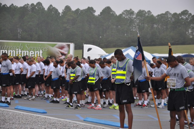 More than 900 runners participated in Fort Jackson's third annual Run for the Fallen Saturday at Hilton Field. The run, sponsored by Survivor Outreach Services, kicked off with a ceremony honoring survivors. Soldiers from the 369th Adjutant General Battalion, wearing bibs to commemorate the 353 service members from South Carolina who have died since Sept. 11, 2001, led the run followed by other Soldiers in formation and individual runners. The Run for the Fallen is an annual event held throughout the United States to raise awareness for fallen Soldiers.